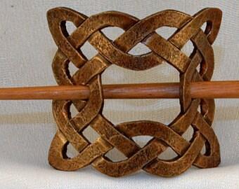 Leather Celtic Square Knot Hair Barrette