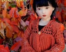 Crochet pattern (PDF) for 14-inch child doll Chrysalis by Kish - autumn cardigan - also fits 15-16 inch fashion doll Ellowyne Tyler