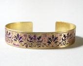 Etched Brass Cuff Purple Florishes