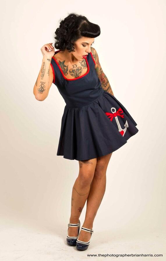 Dress fit and flare dress nautical skater dress swing dress size 8