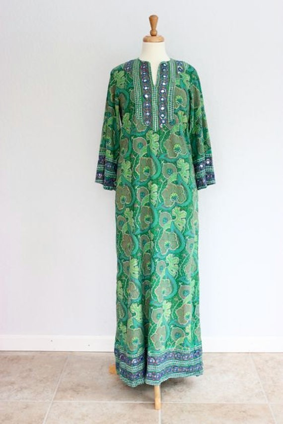 Vintage Bohemian Floral Indian Kaftan Maxi Dress