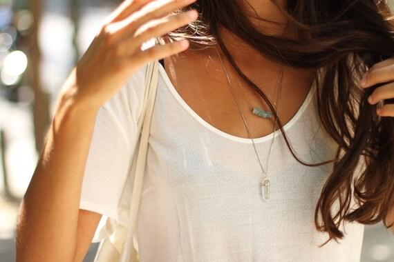ON SALE Gold Layer Necklace, Aquamarine & Quartz Point Gemstone Set