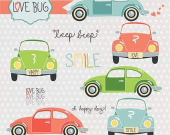 Instant Download -Love Bugs: Digital Clipart Set