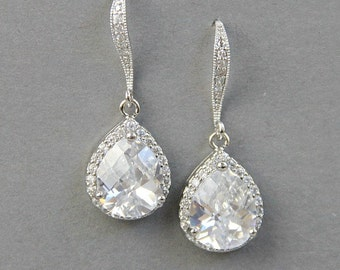 Bridal Earrings ,Crystal Earrings, Wedding Crystal Earrings ,Crystal Dangle Earrings, CZ Earrings ,Silver Bridal Earrings, Wedding Jewellery