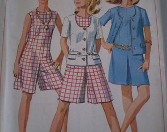 Simplicity 7159, Miss Size 12 Culotte Dress and Jacket, Vintage 1960's