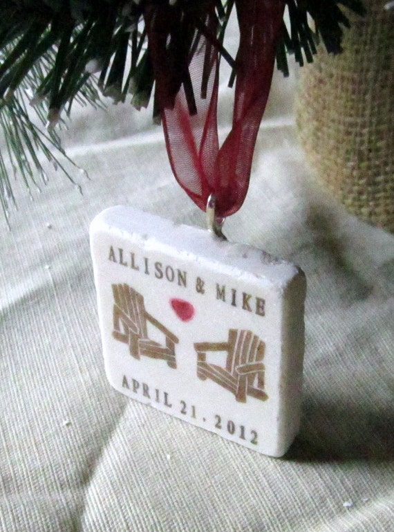 Personalized Christmas Ornament, Adirondack Chair Love, including Gift Box