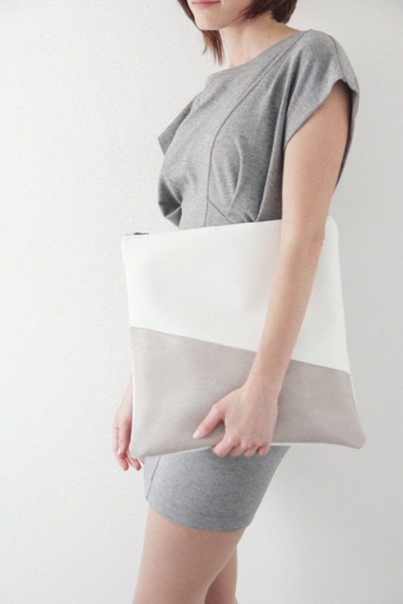 SALE - Large two toned fold over bag W&G - 30% 0ff