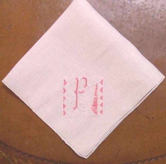 Pink Linen Handkerchief Monogram F