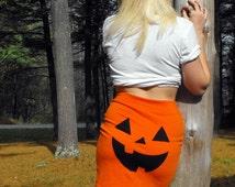 Jack O Lantern Pumpkin Halloween Costume Womens Mini Skirt MADE TO ORDER