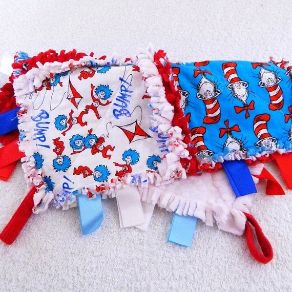 Cat in the Hat Ribbon Rag Baby Quilt with minky - Red, Blue, & White
