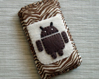 Android Phone Case with Zebra Stripes Brown and Ivory Felt LIMITED EDITION