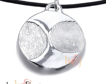 Sterling Silver Custom Family Fingerprints Pendant