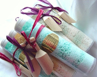 SALE-Dead Sea Bath Salts-You get 9-  6 oz. tubes each with wooden scoop. Made by Nana J's Handmades