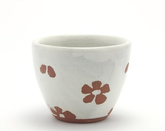 Small yunomi tea cup (white with unglazed floral pattern), rustic modern ceramic stoneware pottery