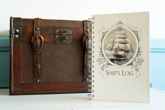 "Nautical Journal, Vintage Sailing Ship in Victorian Frame, Wire Bound Notebook - 5.625"" X 8.625"""