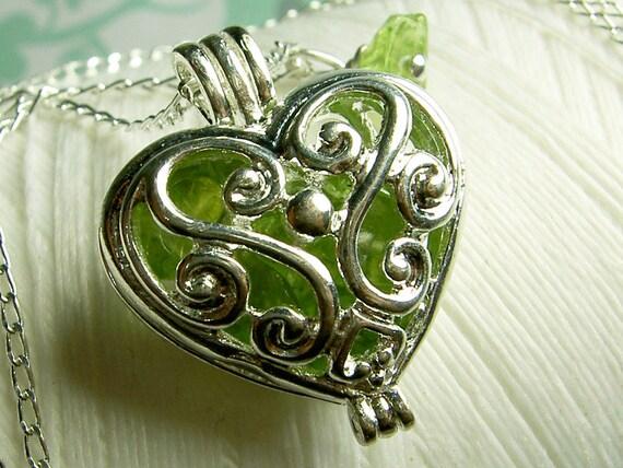 Worry Locket - peridot heart locket / heart locket / silver locket / peridot locket / peridot necklace / floating locket / living locket