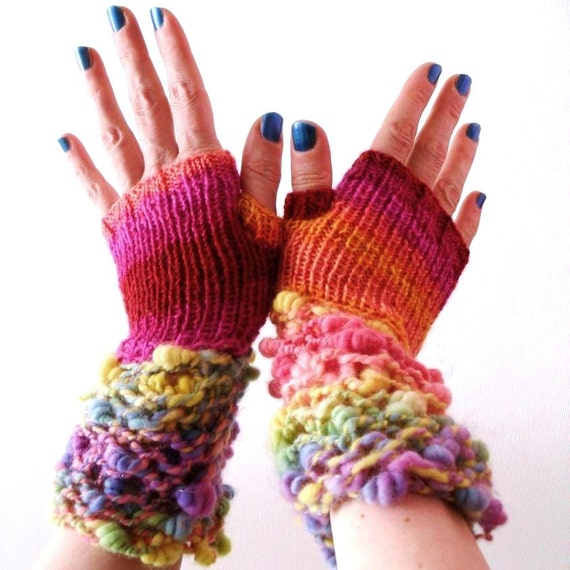 Knit fingerless gloves - Art Yarn Rainbow Carnival - Madcap Charity - Hurricane Sandy