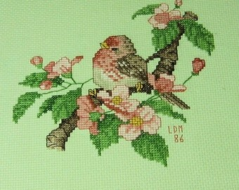 Vintage Needlepoint Bird with Flowers
