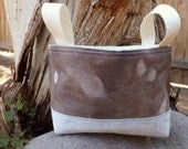 Fabric Organizing Bin Hand Dyed Warm Brown with Leaves
