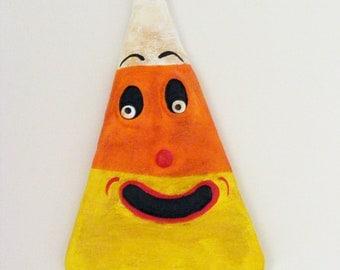 Vintage Style Halloween Candy Corn Folk Art Ornament
