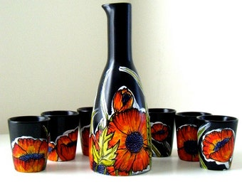 Ceramic Sake Set Hand Painted Poppies Illustrated Flowers Poppy Botanicals Japanese Asian Black Red Orange Green - MADE TO ORDER