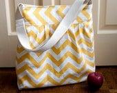 diaper bag in yellow chevron canvas // boys diaper bag // messenger bag // yellow zig zag // the bravo bag // READY TO SHIP