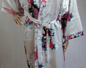 White Silk Bathrobe kimono bridesmaid bride mother of the bride house coat dressing gown personalised custom
