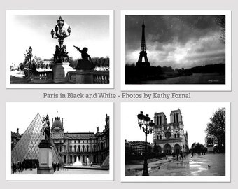 Paris Black and White Photography, Paris Architecture, Paris Landmarks, Paris Eiffel Tower Black and White Photography Print Set of 4