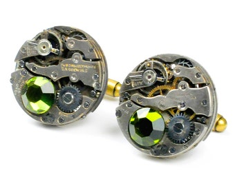 Antique Watch Movement N Olivine Crystal Steampunk Cuff Links