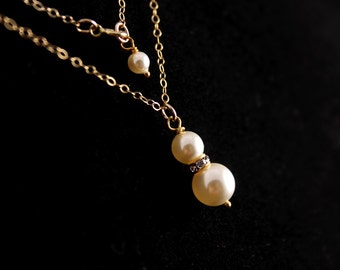 Wedding Jewelry Bridesmaid Jewelry Gold or Silver Pearl Bridesmaid Necklace Mariah