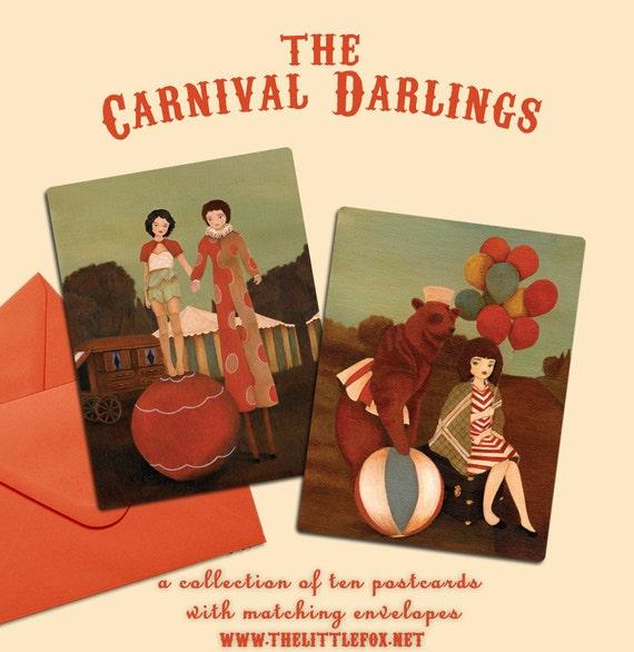 LAST ONE - Postcard Collection, Set of Postcards, Blank Card Set, Postcard Set,  Postcard Pack, Circus Postcard Set - Carnival Darlings