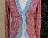 Women's Small Upcycled Silk Blend Cardigan Sweater- Peachy Keen
