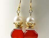 Red Earrings /  Freshwater pearls nestled in gold crowns / vermeil / with Chalcedony faceted briolettes