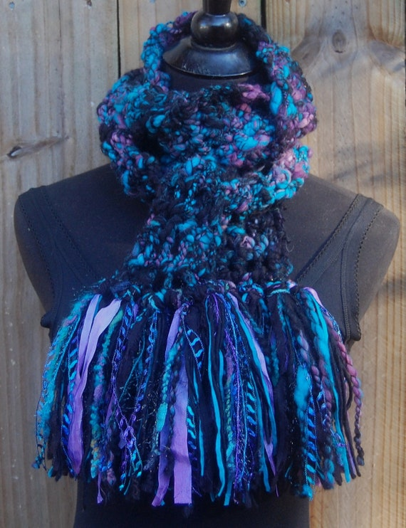 Handmade Black, Teal & Purple Crochet One Of A Kind Scarf