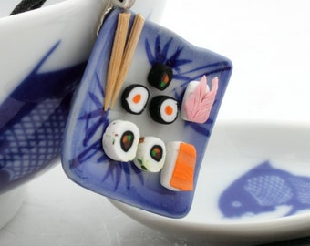 Oriental sushi lunch plate pendant with blue and white ceramic plate and fimo sushi- cute, kitsch, miniature food- foodie gift- sushi lover
