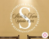 "Family Name Wall Decal - Couple Name Wall Decal with Wedding Date and Forever and Always Border 22"" Circle WD0009"