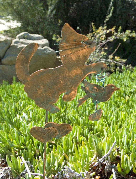 Cat garden art handmde plant stake lawn by gardencopperart for Cat yard art