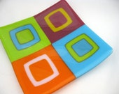 fused glass sushi dish, Hide and Seek modern art plate, colorful contemporary home decor