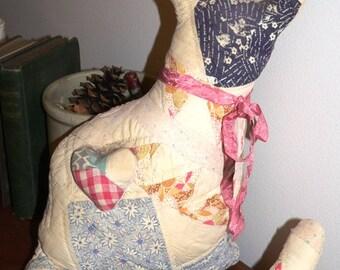 Primitive Quilted Folk Art Cat, Primitives, Home Decor, Quilts, Quilt, Vintage Quilt, Folk Art, Cat, Kitty, Prim  Cat, Prim Decor    HAFAIR