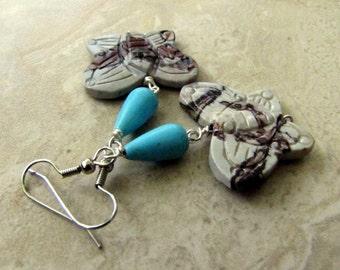 50% OFF Beaded Butterfly Earrings - Earthy Jasper and Turquoise Dangle Earrings - Migration (Ready to Ship)