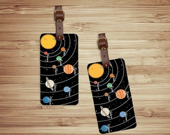 Personalized Luggage Tags Solar System Planets and Space  Custom Address Printed Metal Tag Set Personalized