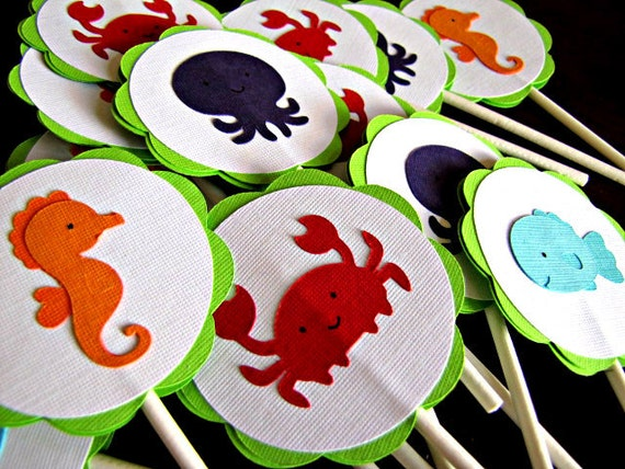 Under The Sea Party Cupcake Toppers, Sea Animal Cupcake Toppers, Under the Sea Birthday Party, Under the Sea Shower, Sea Animals, Set of 12