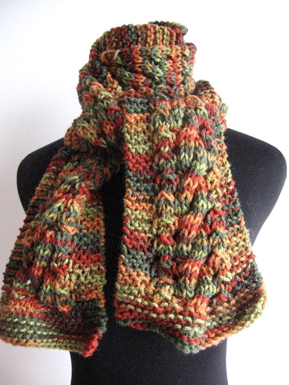 Cyber Monday Fall Colors Green,Orange Brown Cable and Lace Vegan Scarf Free Shipping