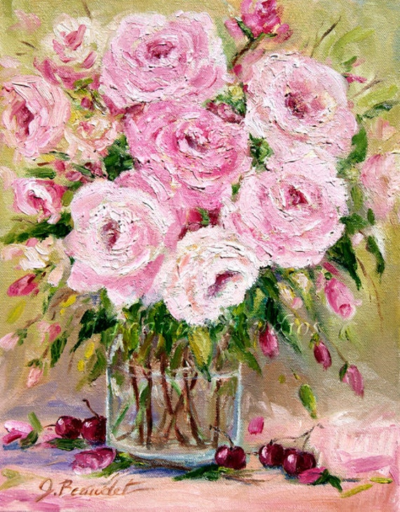 RESERVED for DEB Original oil painting Pink roses floral painting impressionism shabby chic decor wall decor