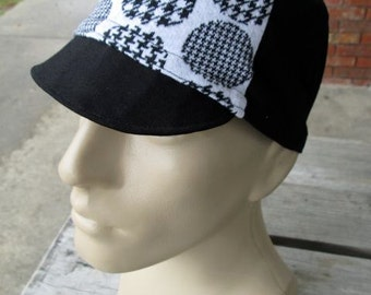 Cycling Cap - Black and White Houndtooth Polkadot (Medium)