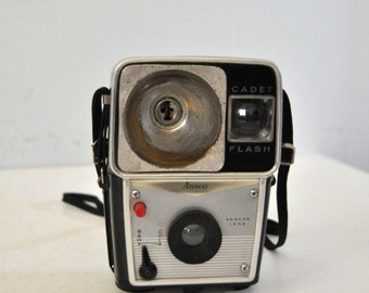 Vintage Camera Ansco Cadet Flash Mid Century Modern Simple Retro Silver Chrome Cool Design