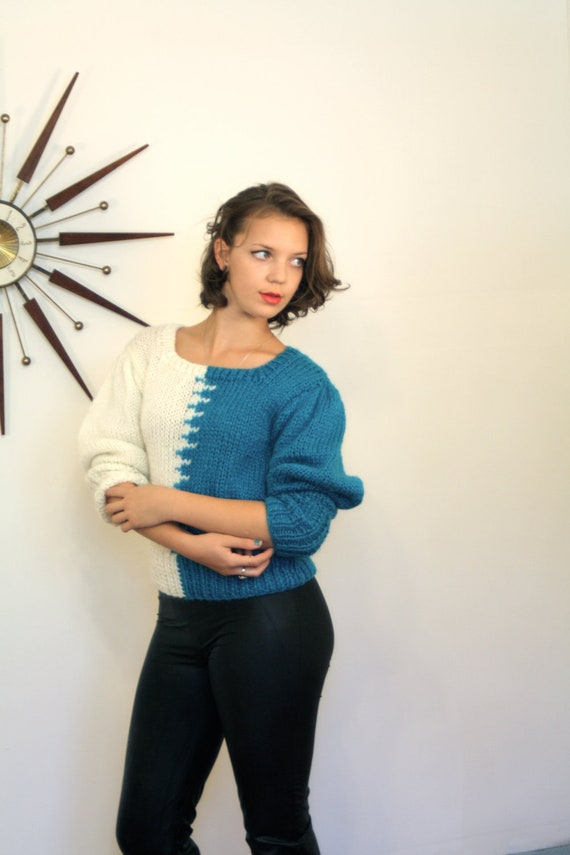 Vintage 80s Zig-Zag Teal Cream Cable Knit Cardigan Sweater Long Puff Sleeve Geometric 1980s Short Jumper