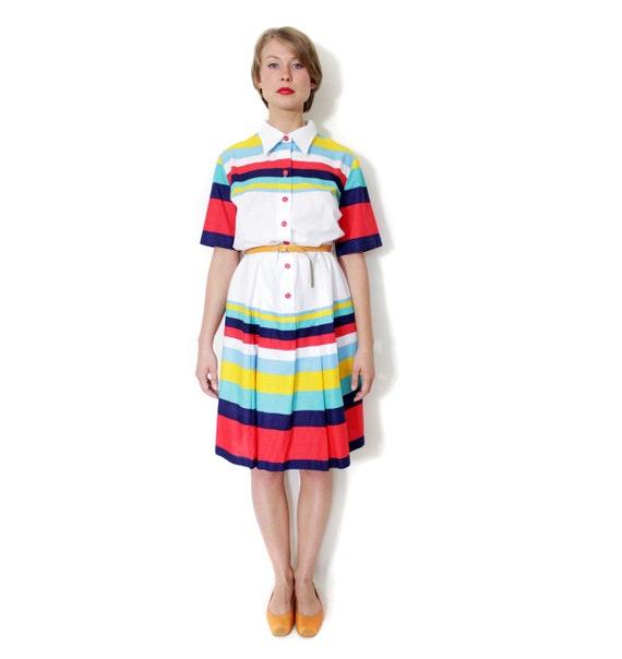 Vintage dress / white with colorful stripes cotton dress / M-L