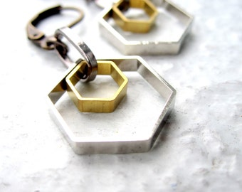 Geometric Earrings Mixed Metal Earrings Women Earrings Dangle Earrings Hexagon Earrings