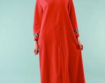 Vintage 1950s Vanity Fair Robe Nightgown - Medium Red Loungewear Hostess Leopard Print Collar Cuff Maxi Length Rockabilly Pin up